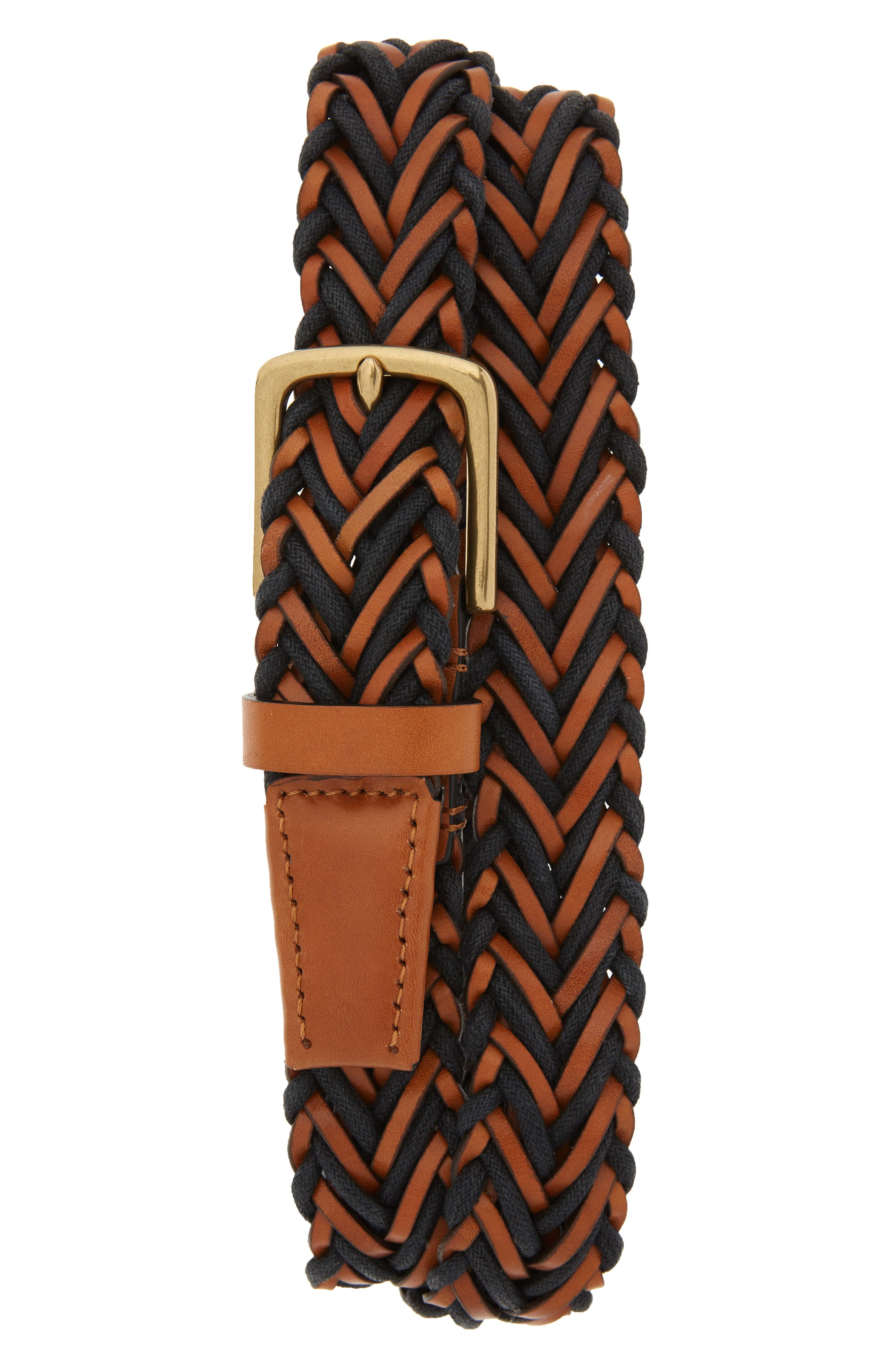 Cole Haan Braided Leather & Cord Belt, British Tan/ Old English Brass