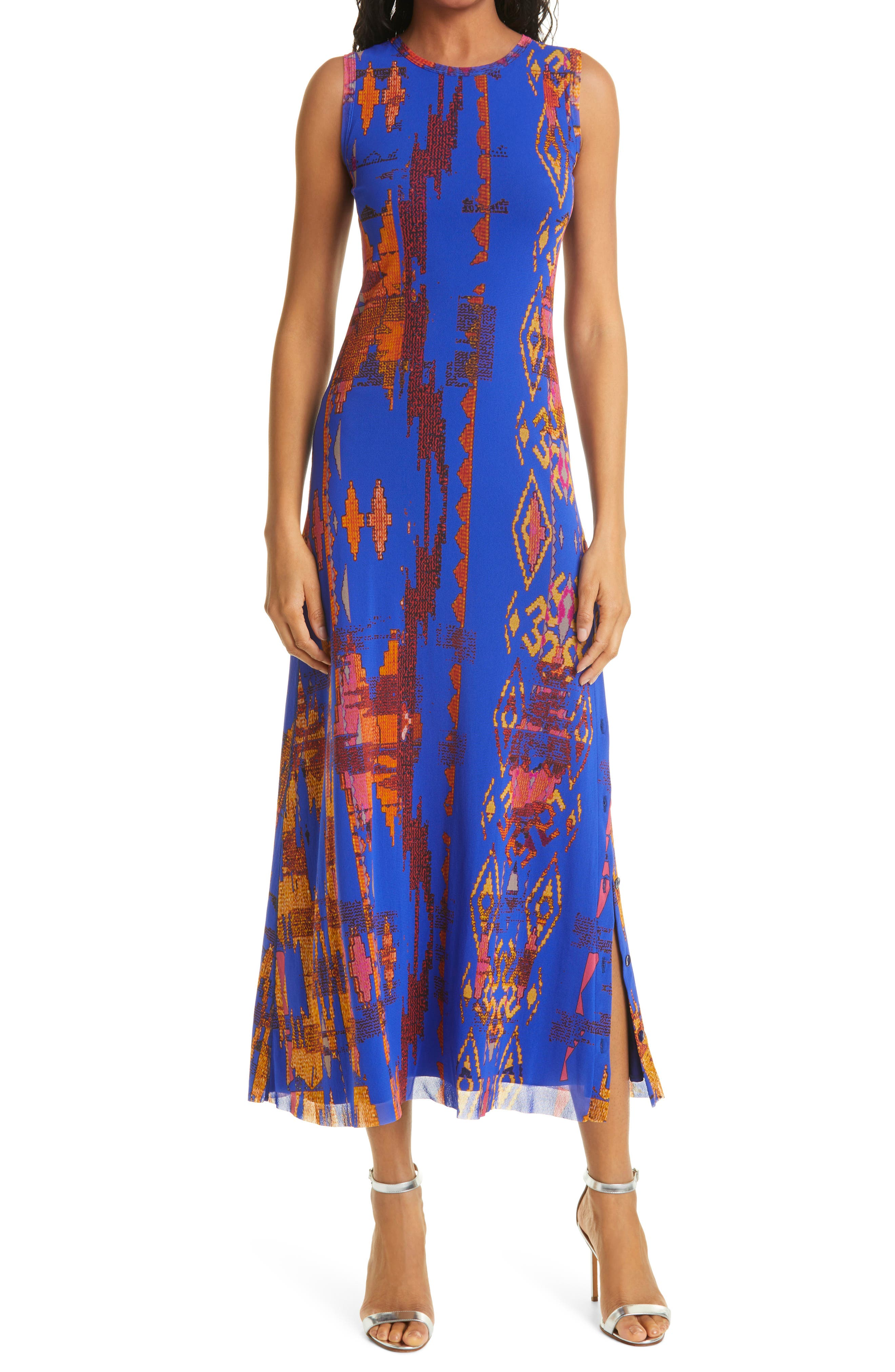 Abstract Ikat Side Button Dress