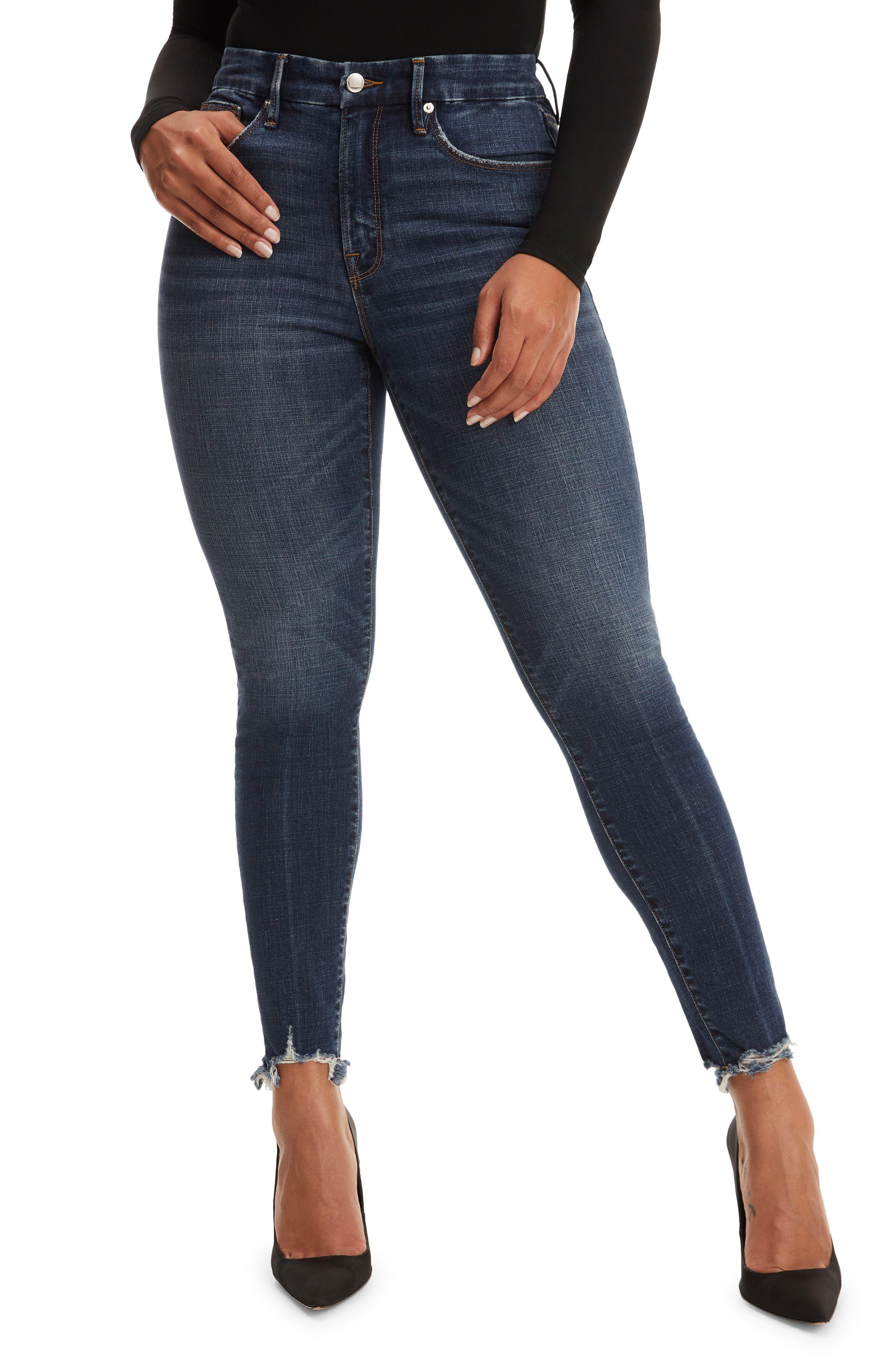 Plus Women's Good American Good Legs Chewed Hem Skinny Jeans