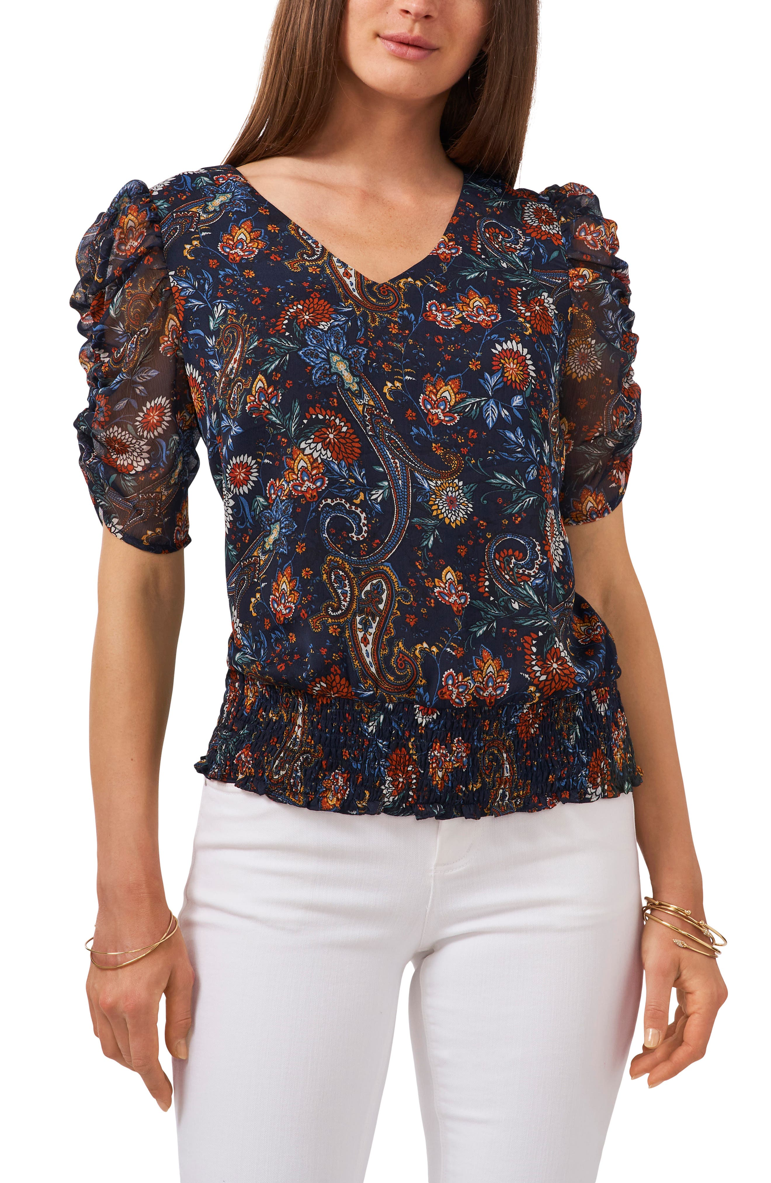 Ruched Sleeve Print Blouse