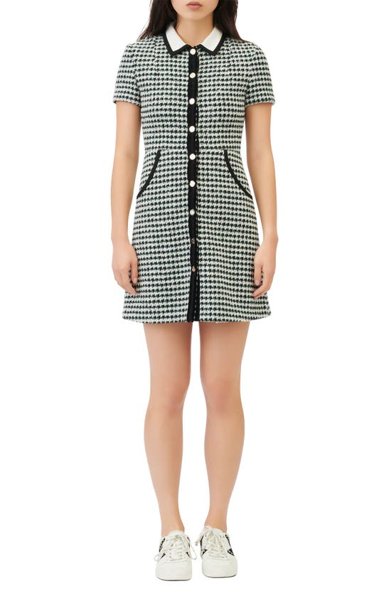 MAJE Cottons HOUNDSTOOTH CHECK COTTON & WOOL BLEND DRESS
