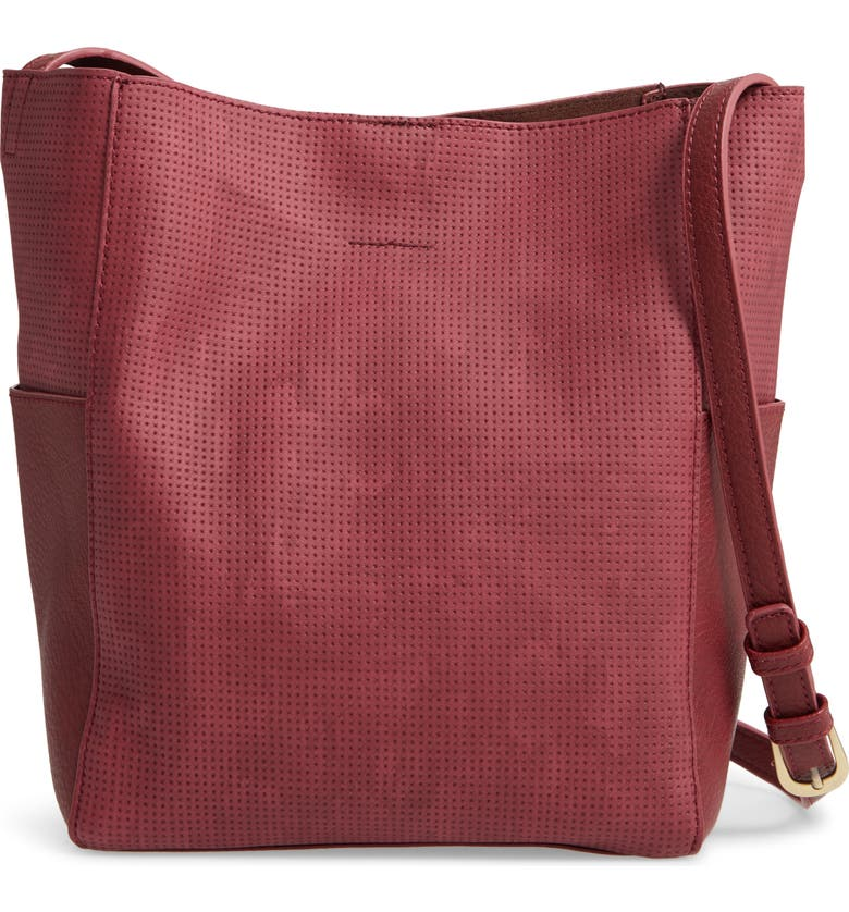 BP. Faux Leather Mini Crossbody Bag, Main, color, BURGUNDY PUNCH