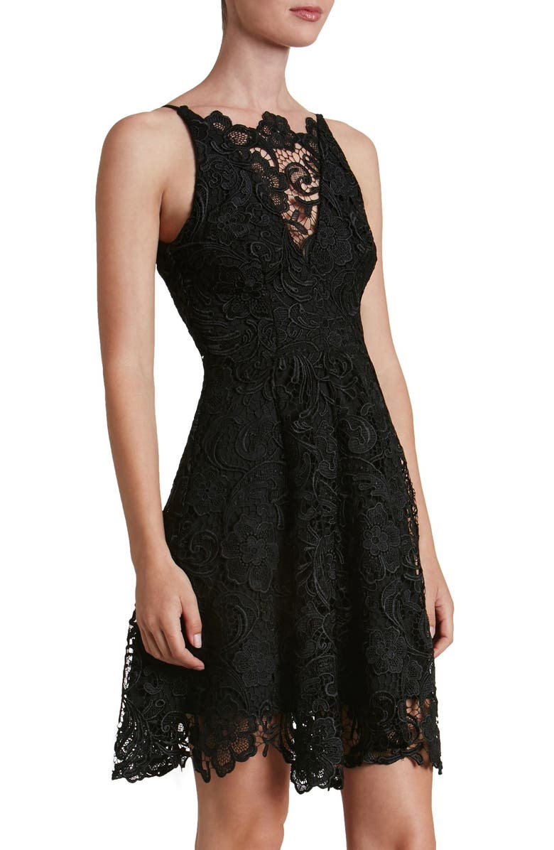 DRESS THE POPULATION 'Hayden' Lace Fit & Flare Dress, Main, color, 004