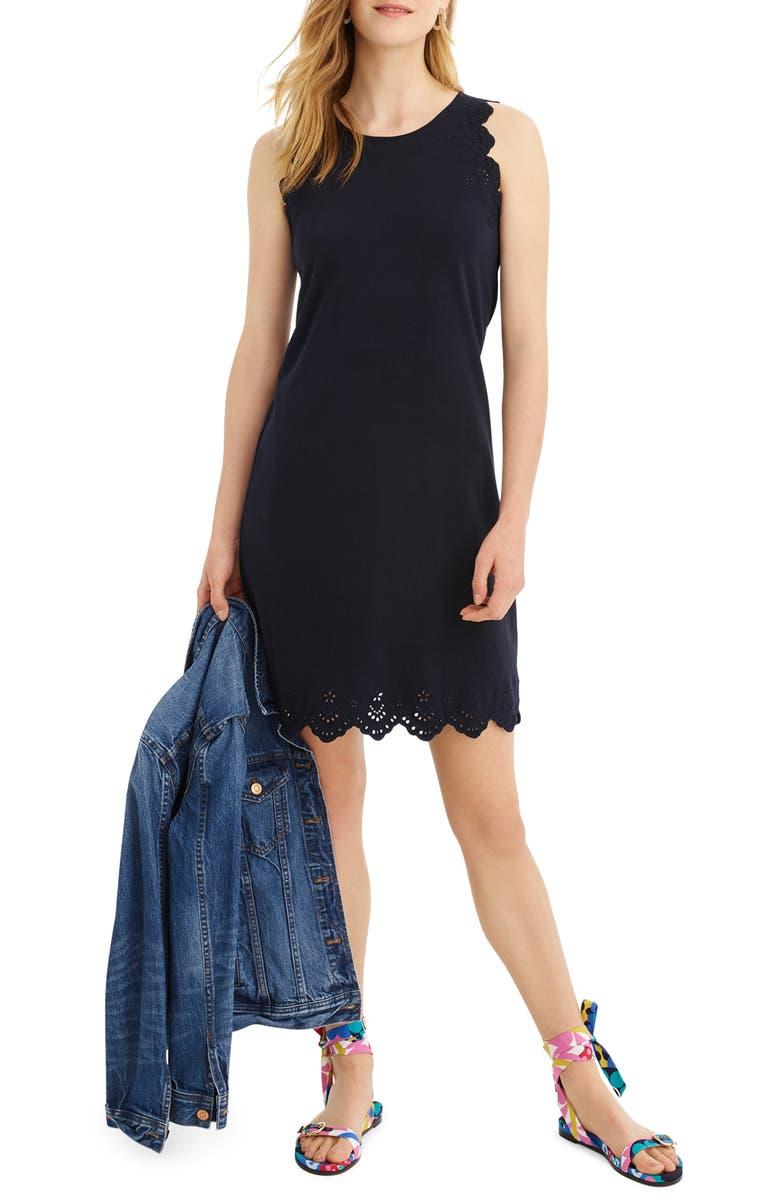 J.CREW Eyelet Trim Sleeveless Knit Dress, Main, color, NAVY