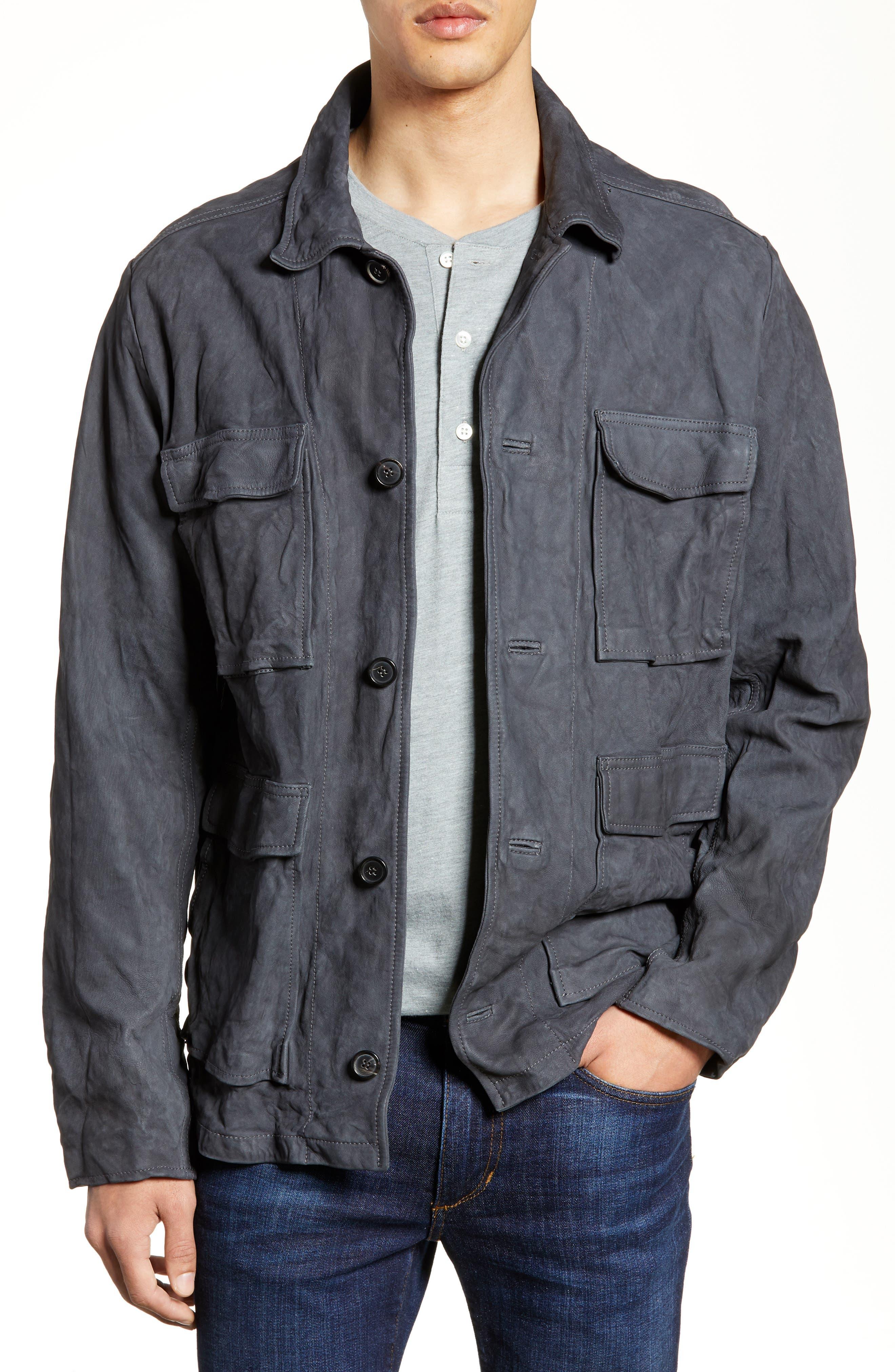 Billy Reid Suede Chore Jacket, Grey