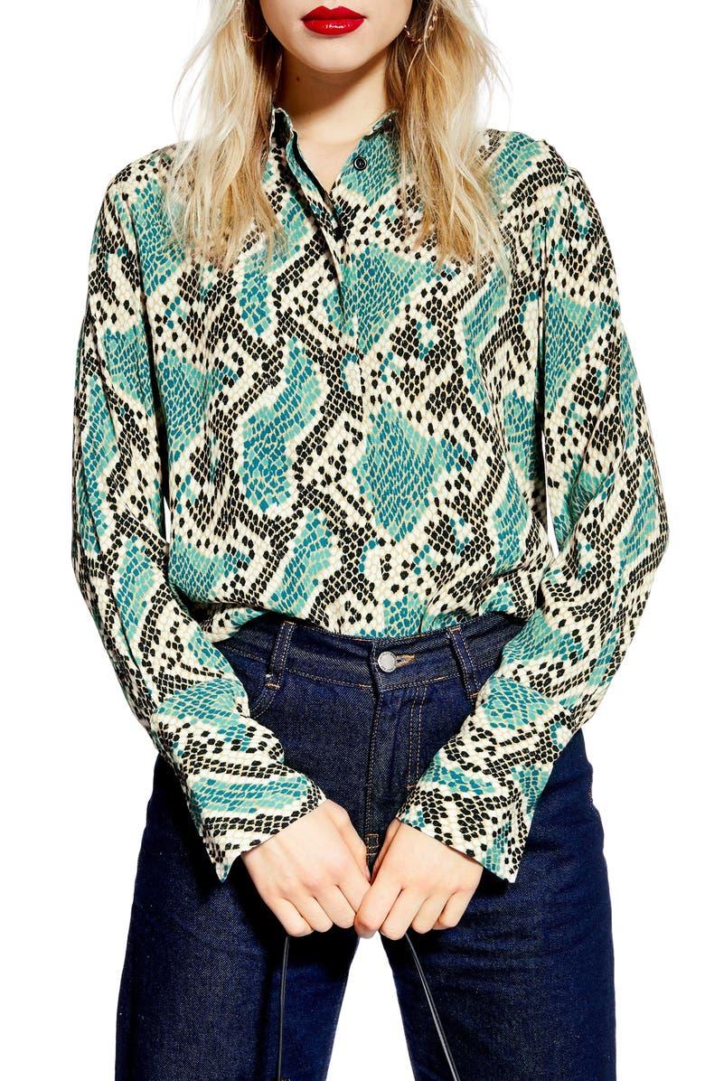 TOPSHOP Mensy Snake Print Shirt, Main, color, 400