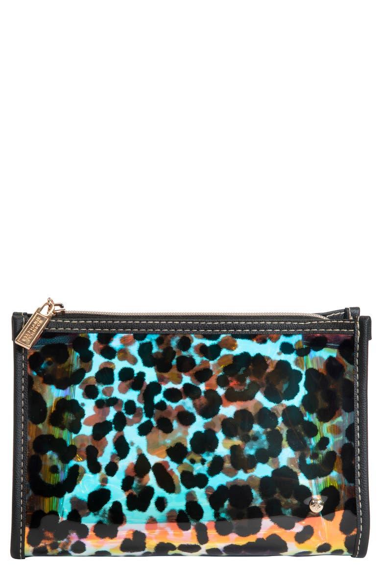 STEPHANIE JOHNSON Miami Cheetah Holographic Medium Makeup Bag, Main, color, NO COLOR