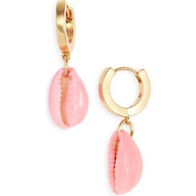 Madewell Painted Cowrie Shell Huggie Mini Hoop Earrings