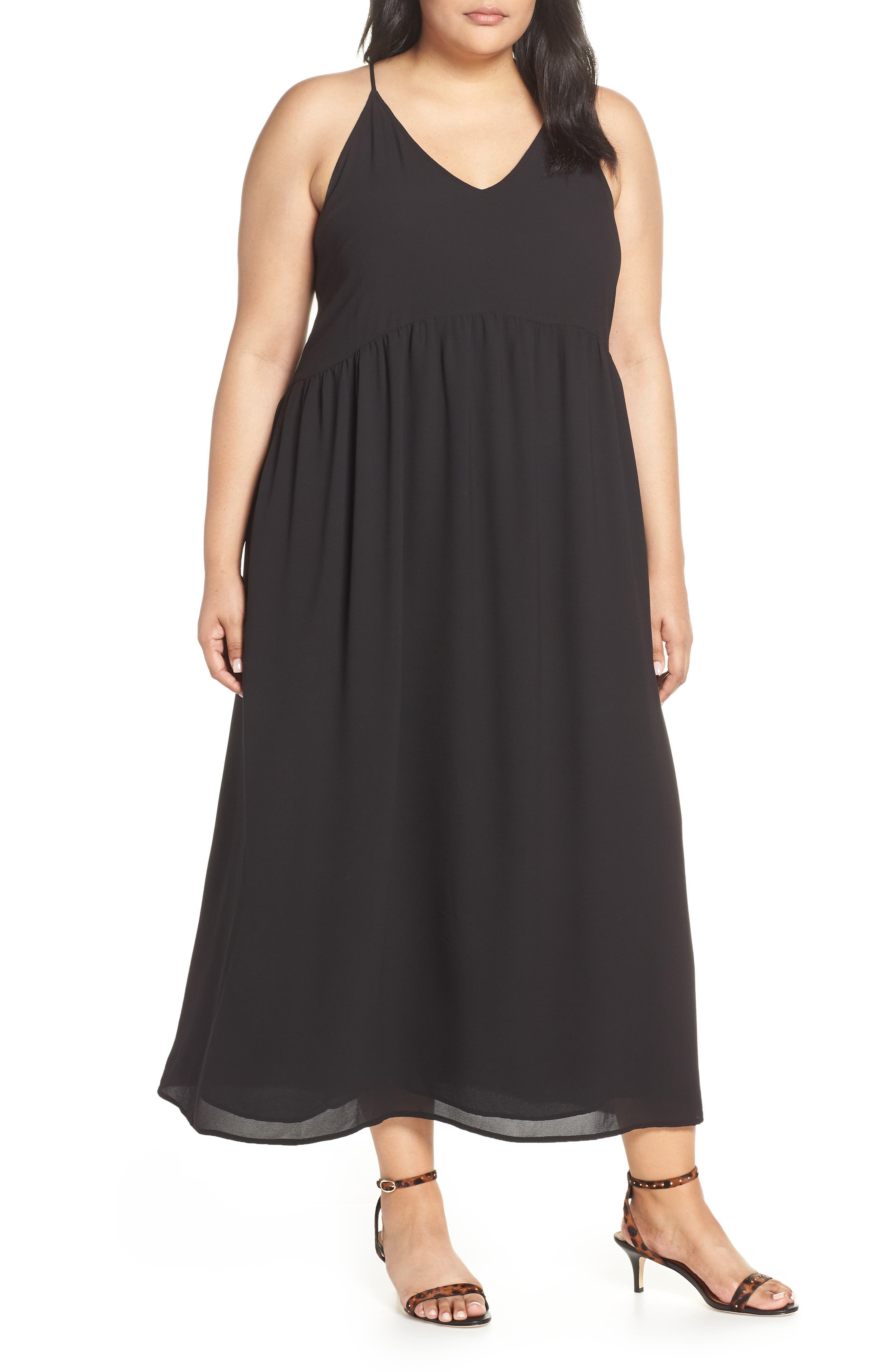 x Hi Sugarplum! Palm Springs Festival Maxi Dress, Main, color, BLACK