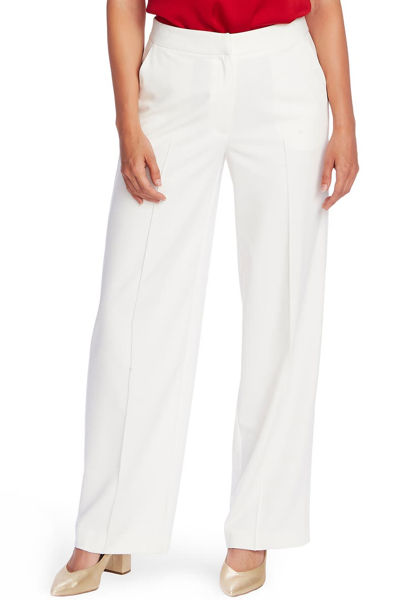 VINCE CAMUTO Pintuck Detail Wide Leg Textured Twill Pants, Main, color, PEARL IVORY