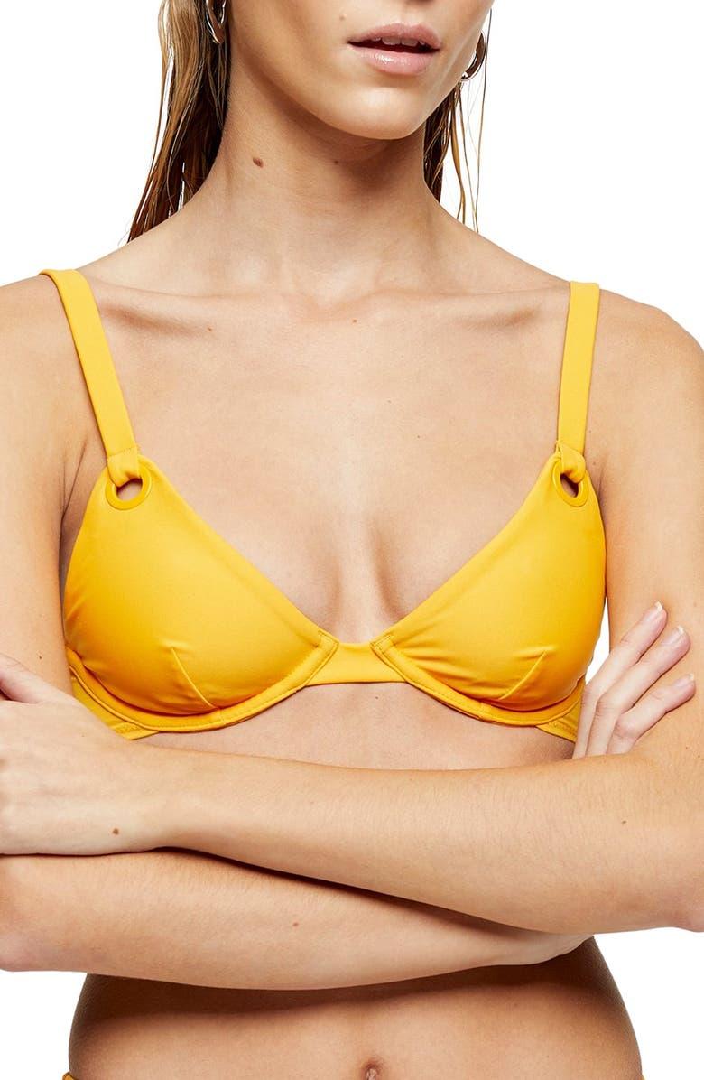 TOPSHOP Eyelet Underwire Bikini Top, Main, color, ORANGE