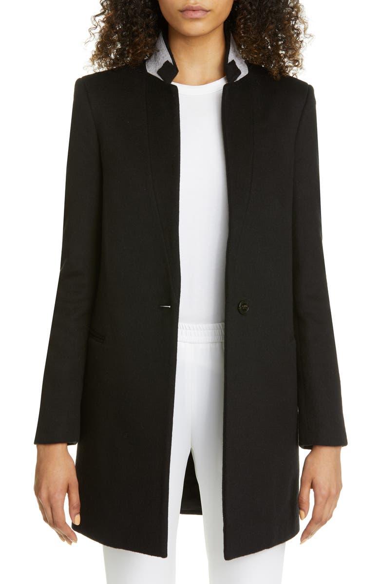 STELLA MCCARTNEY Double Face Wool Long Blazer, Main, color, BLACK