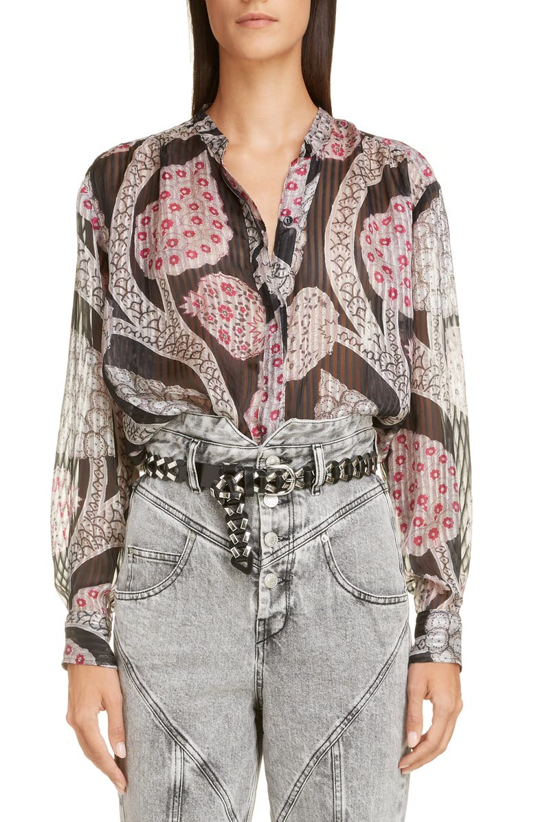 ISABEL MARANT Paisley Silk Blouse, Main, color, 001