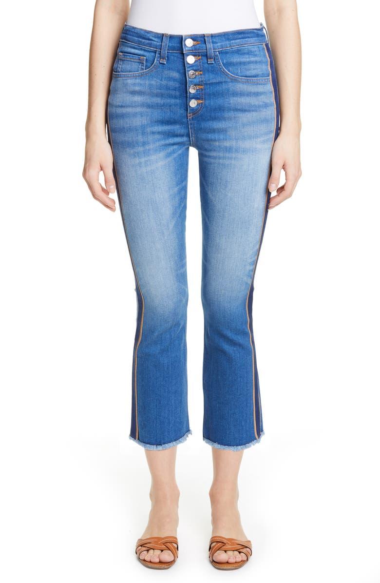 VERONICA BEARD Carolyn Tuxedo Stripe Baby Boot Crop Jeans, Main, color, 421