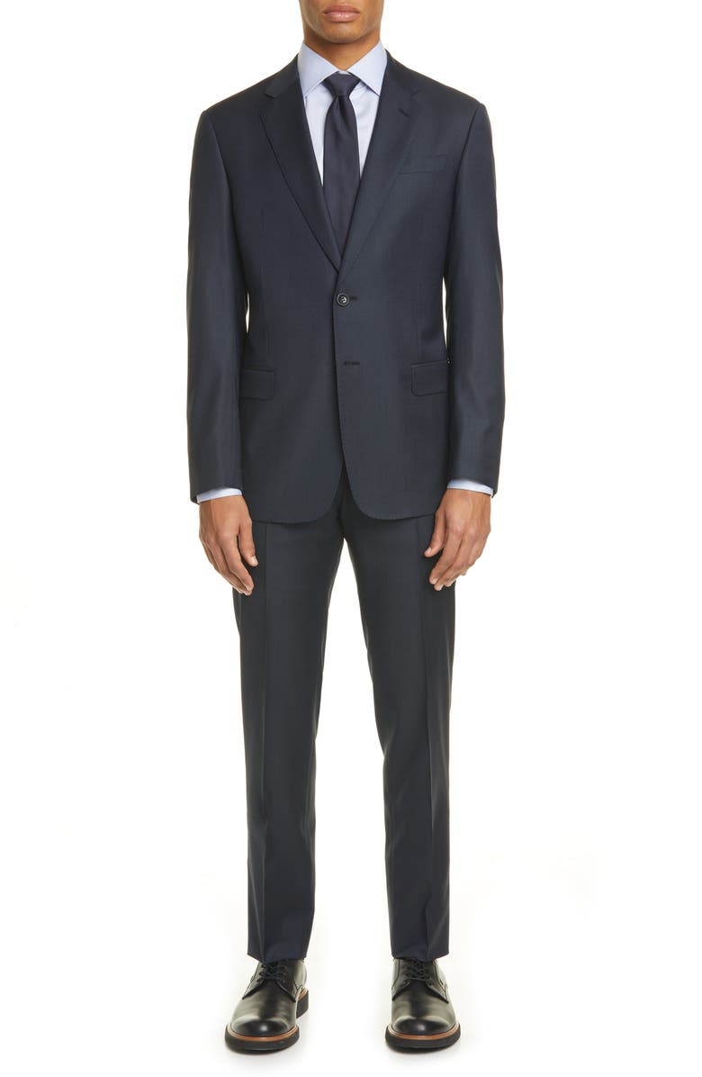 GIORGIO ARMANI Trim Fit Solid Stretch Wool Suit, Main, color, 414