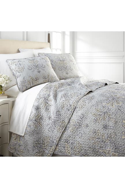 Image of SOUTHSHORE FINE LINENS King/California King Luxury Premium Collection Ultra-Soft Quilt Cover Set - Vintage Garden/Sandy Grey