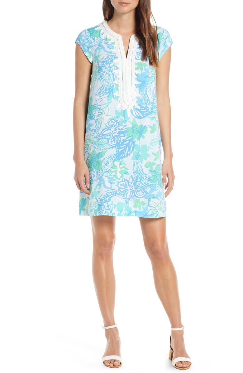 LILLY PULITZER<SUP>®</SUP> Madia Shift Dress, Main, color, WHIPUR BLUE BOOM CROC A LOCCA