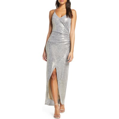 Vince Camuto Ruched Side Evening Gown, Metallic