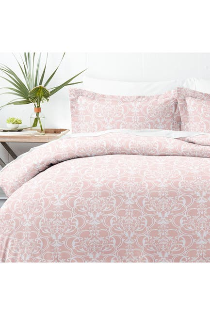 Image of IENJOY HOME Home Collection Premium Ultra Soft Romantic Damask Pattern 3-Piece Duvet Cover Set - Pink - King / California King