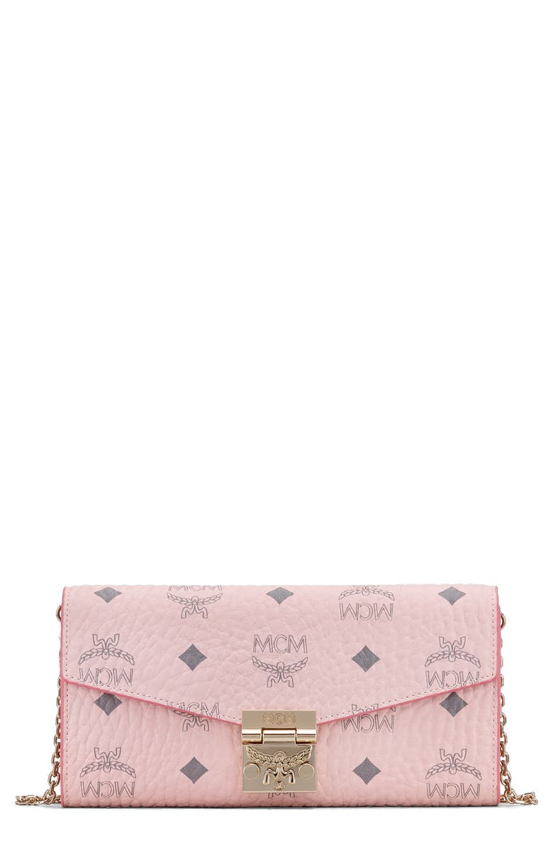 MCM Large Patricia Visetos Canvas Wallet on a Chain, Main, color, POWDER PINK