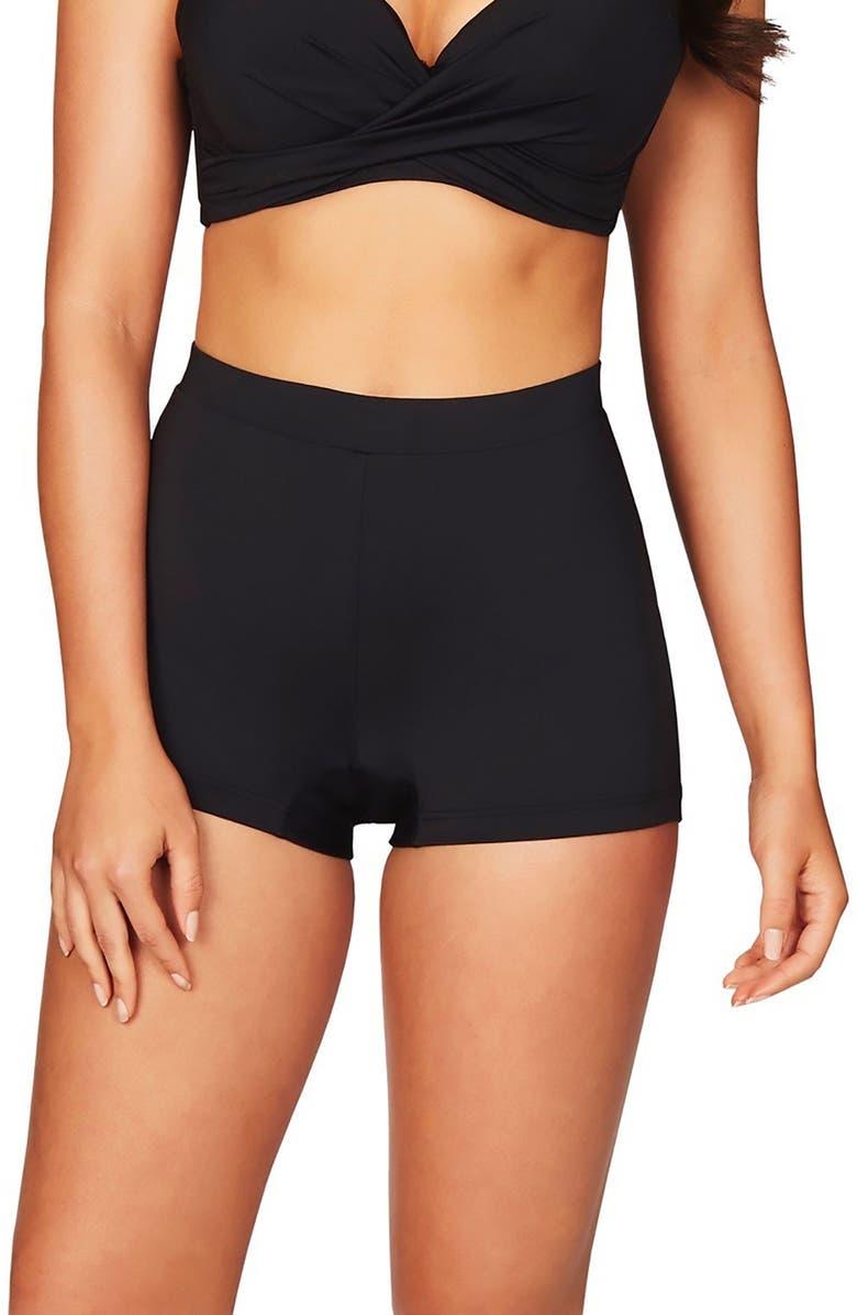 SEA LEVEL The Katie Boyleg Swim Shorts, Main, color, BLACK