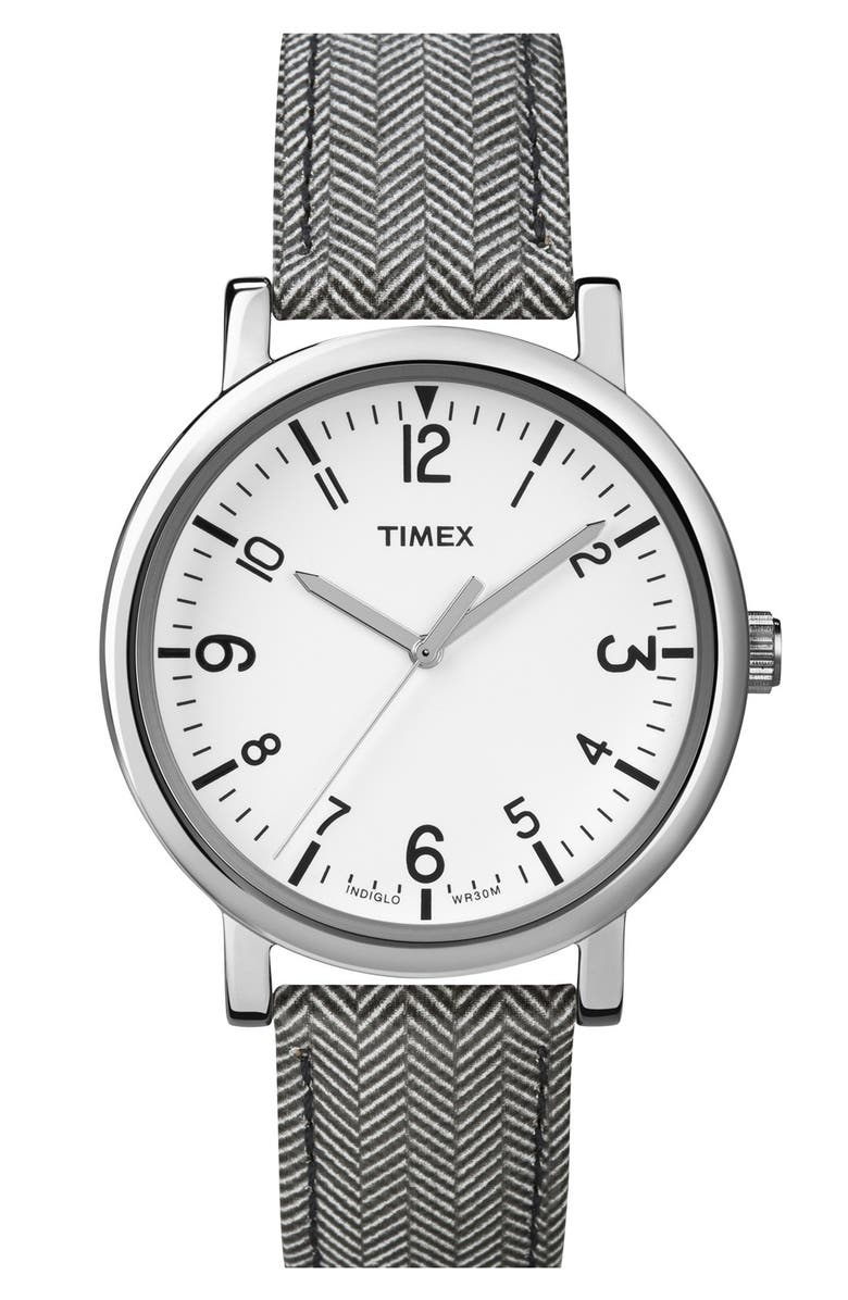 TIMEX<SUP>®</SUP> Round Tweed Print Leather Strap Watch, 38mm, Main, color, 020