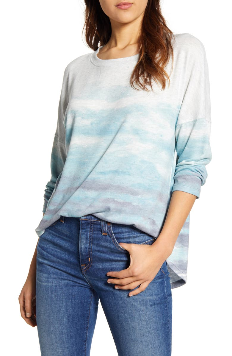 WIT & WISDOM Sublimated Scoop Neck Sweatshirt, Main, color, JADE STONE