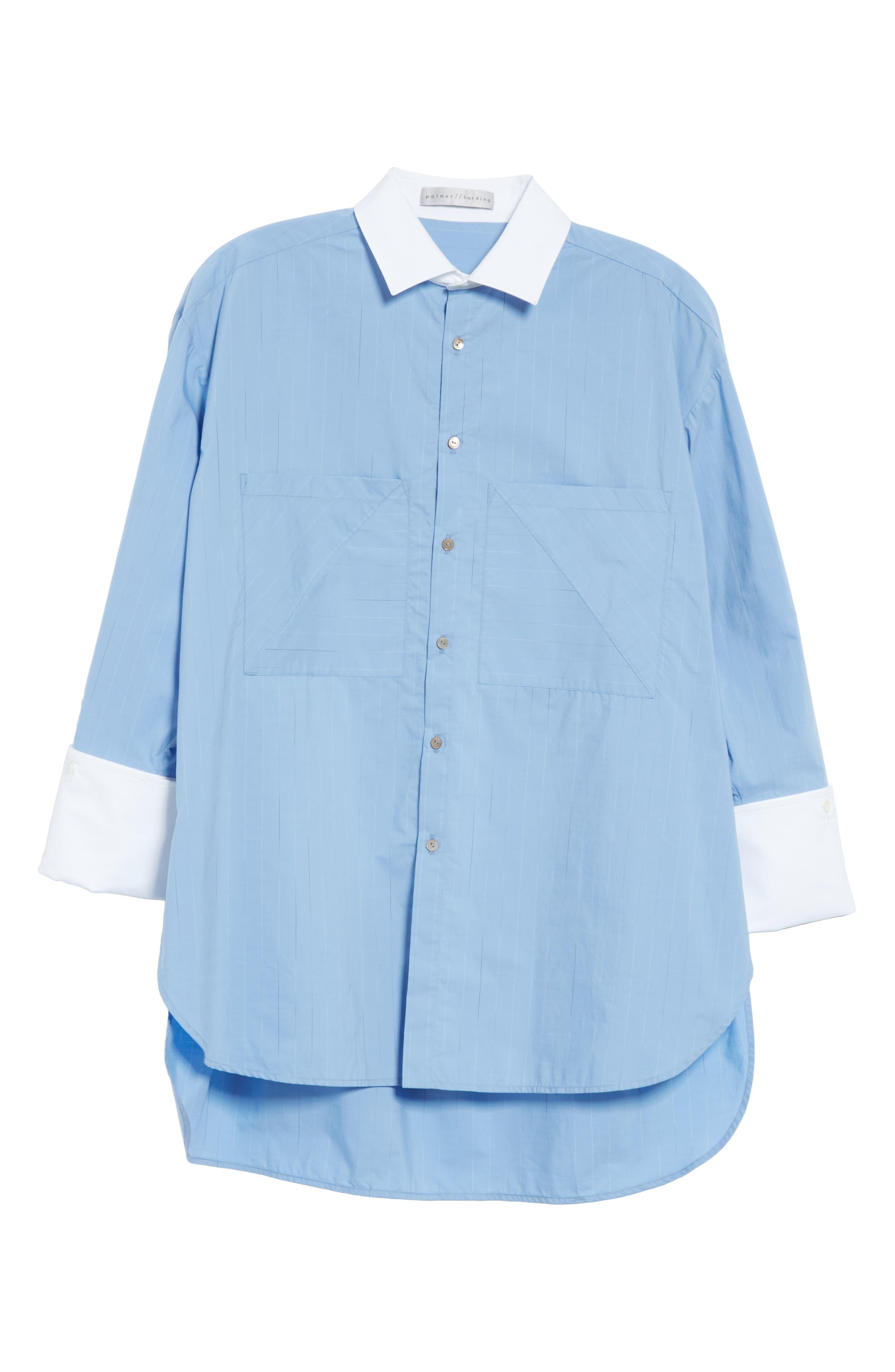 ,                             Oversize Boyfriend Shirt,                             Alternate thumbnail 6, color,                             BLUE RAIN STRIPE WITH WHITE