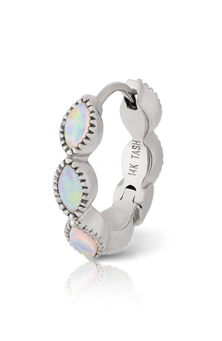 MARIA TASH 9.5mm Scalloped Marquise Opal Eternity Earring, Main, color, WHITE GOLD