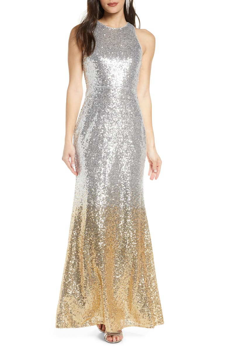 LULUS Infinite Dreams Ombré Sequin Trumpet Gown, Main, color, SILVER/GOLD