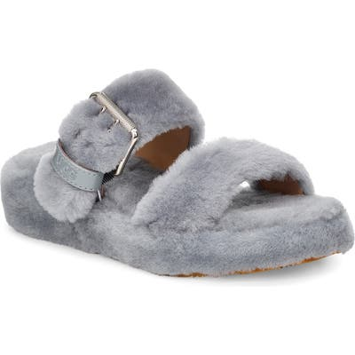 Ugg Fuzz Yeah Genuine Shearling Slide, Grey