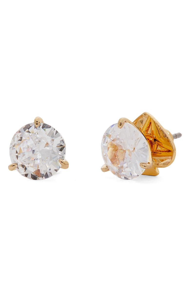 KATE SPADE NEW YORK trio prong studs, Main, color, CLEAR/ GOLD