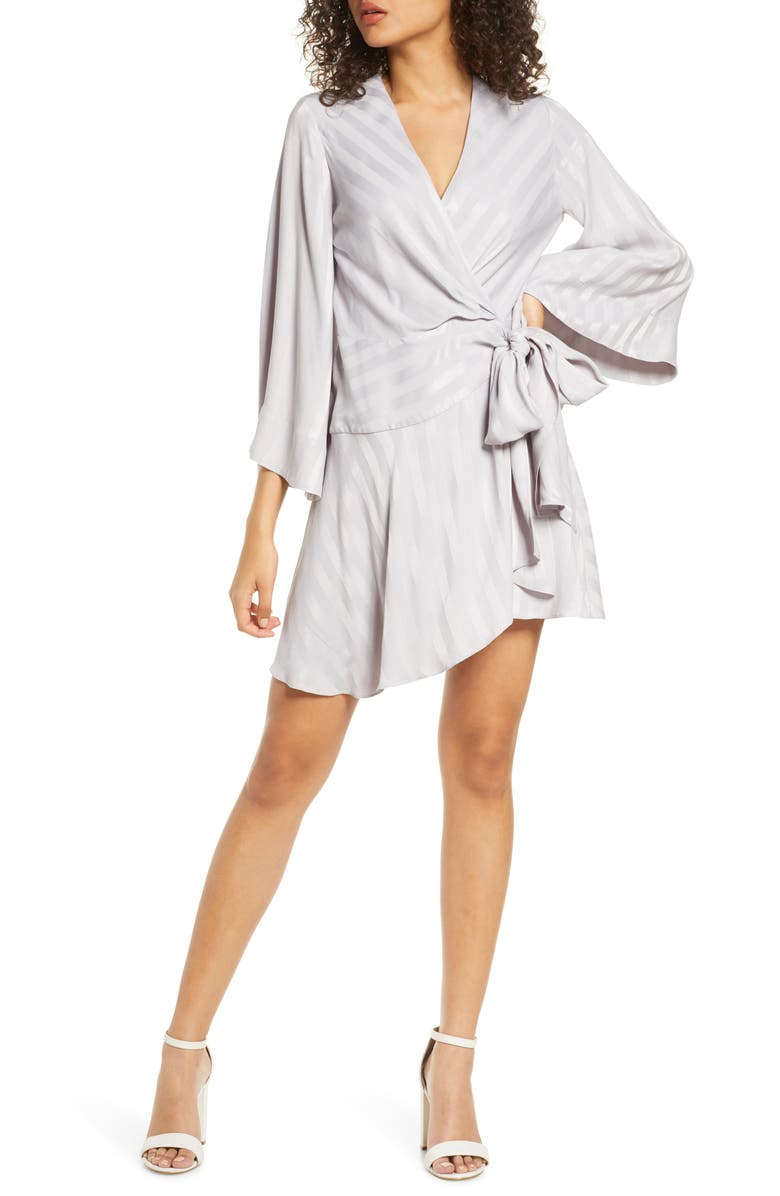 SIGNIFICANT OTHER Serenity Stripe Satin Wrap Minidress, Main, color, 450