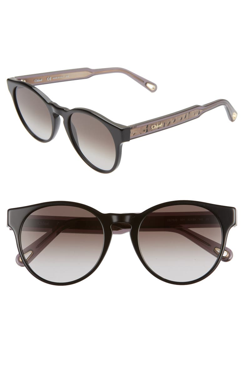 CHLOÉ Willow 52mm Round Sunglasses, Main, color, 002