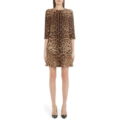 Dolce & gabbana Leopard Print Cady Crepe Shift Dress, 8 IT - Brown