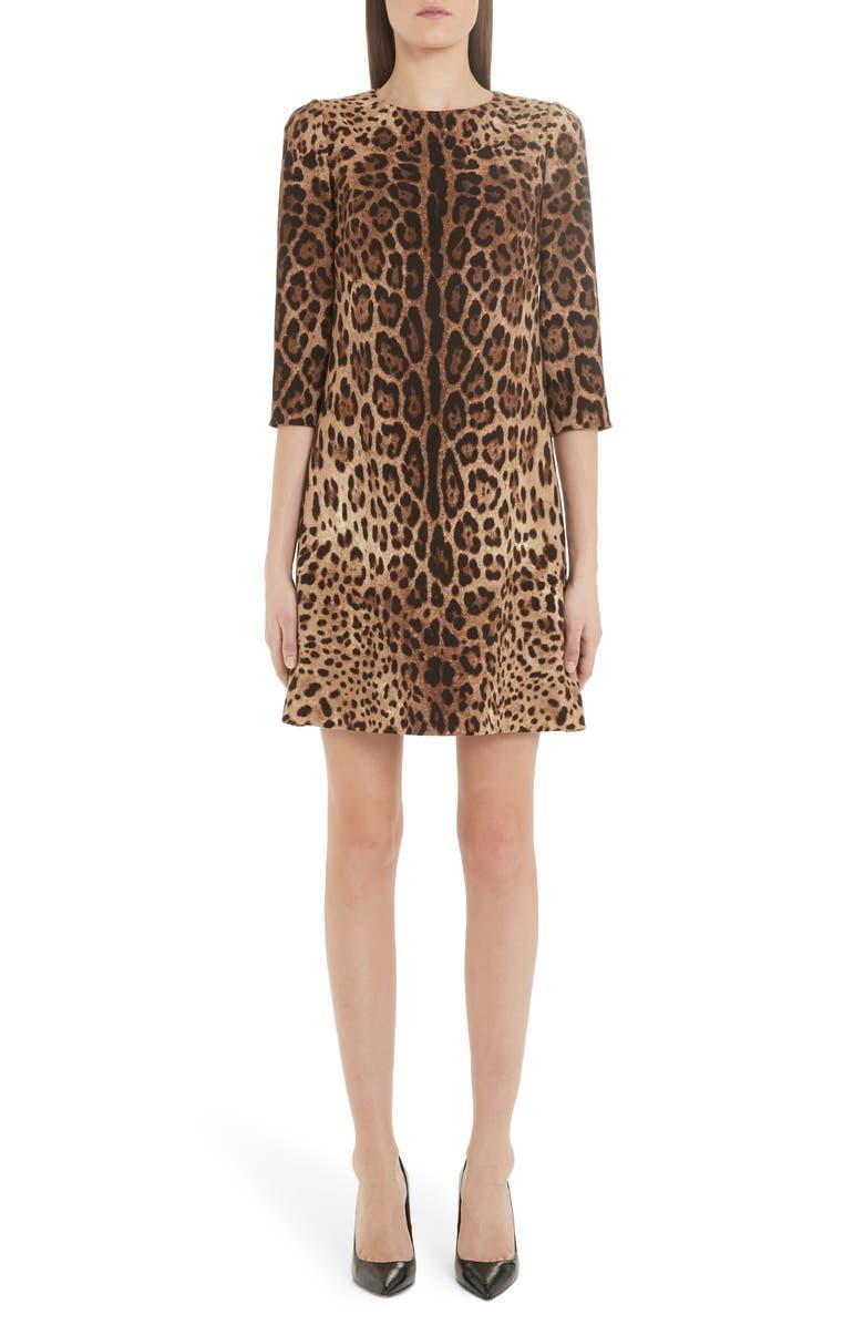 DOLCE&GABBANA Leopard Print Cady Crepe Shift Dress, Main, color, LEO
