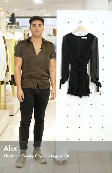 Hollywood or Bust Long Sleeve Pleated Chiffon Romper, sales video thumbnail