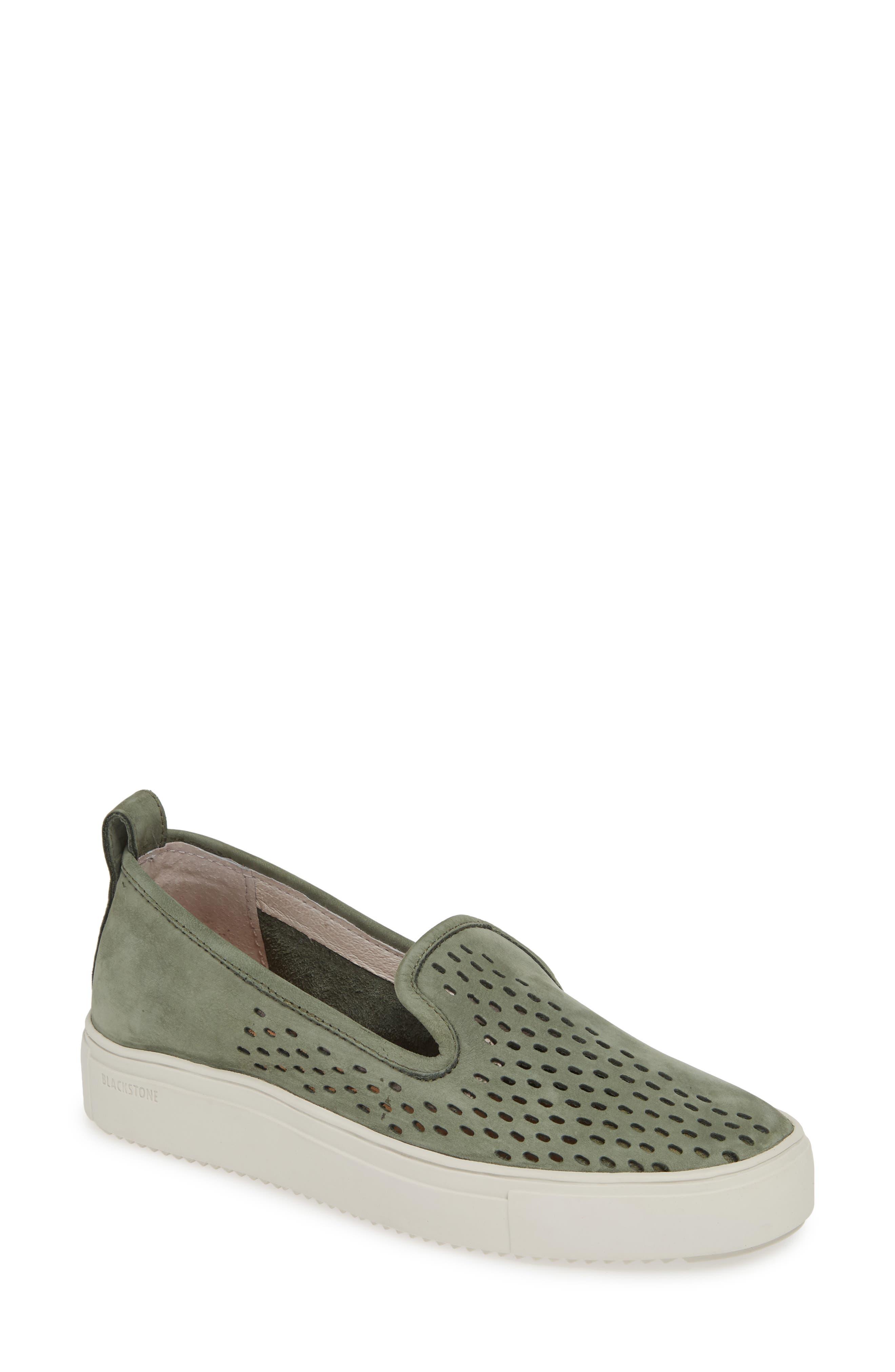 Blackstone Rl68 Perforated Slip-On Sneaker, Green