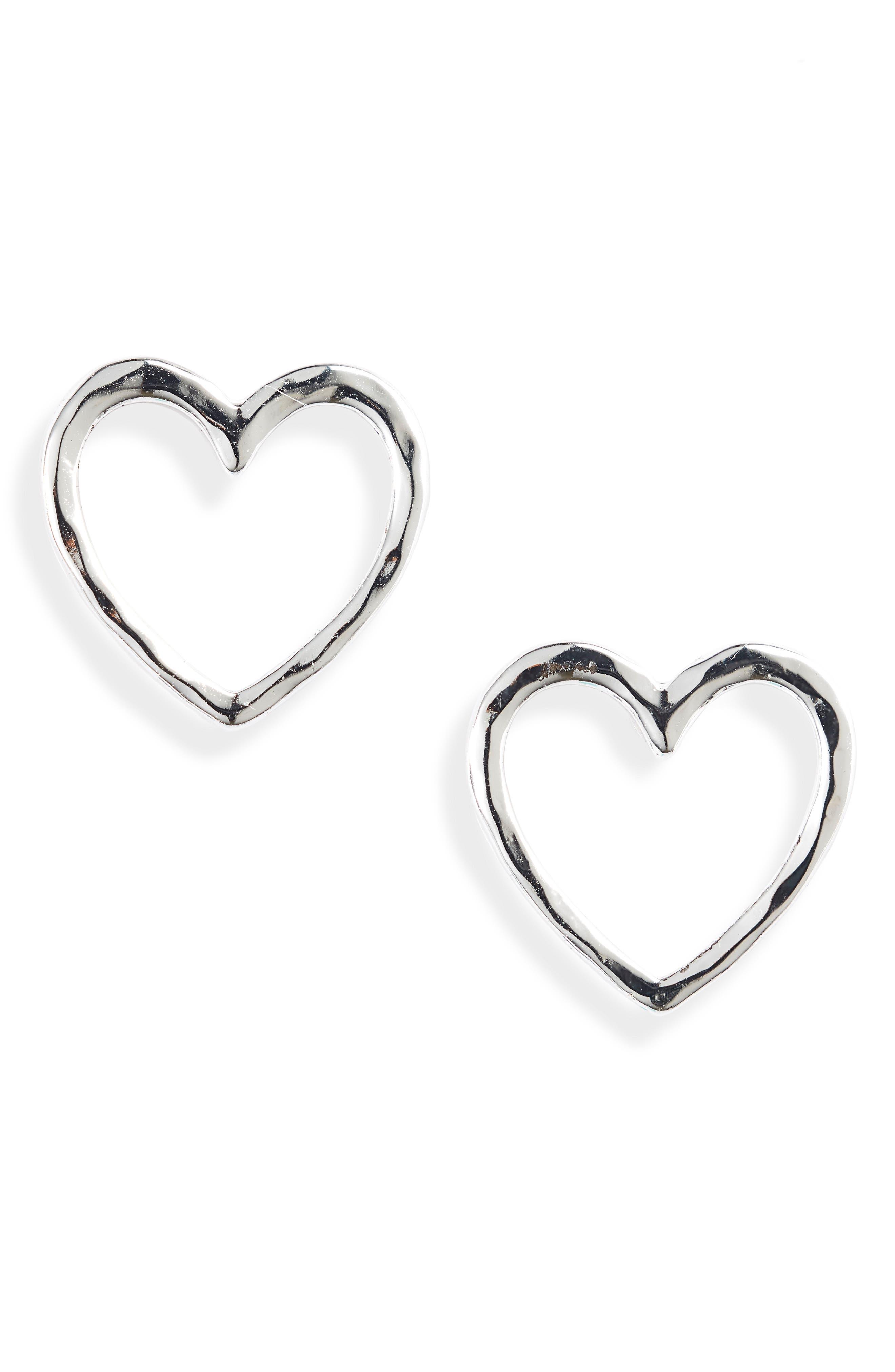 Hammered Heart Shape Stud Earring