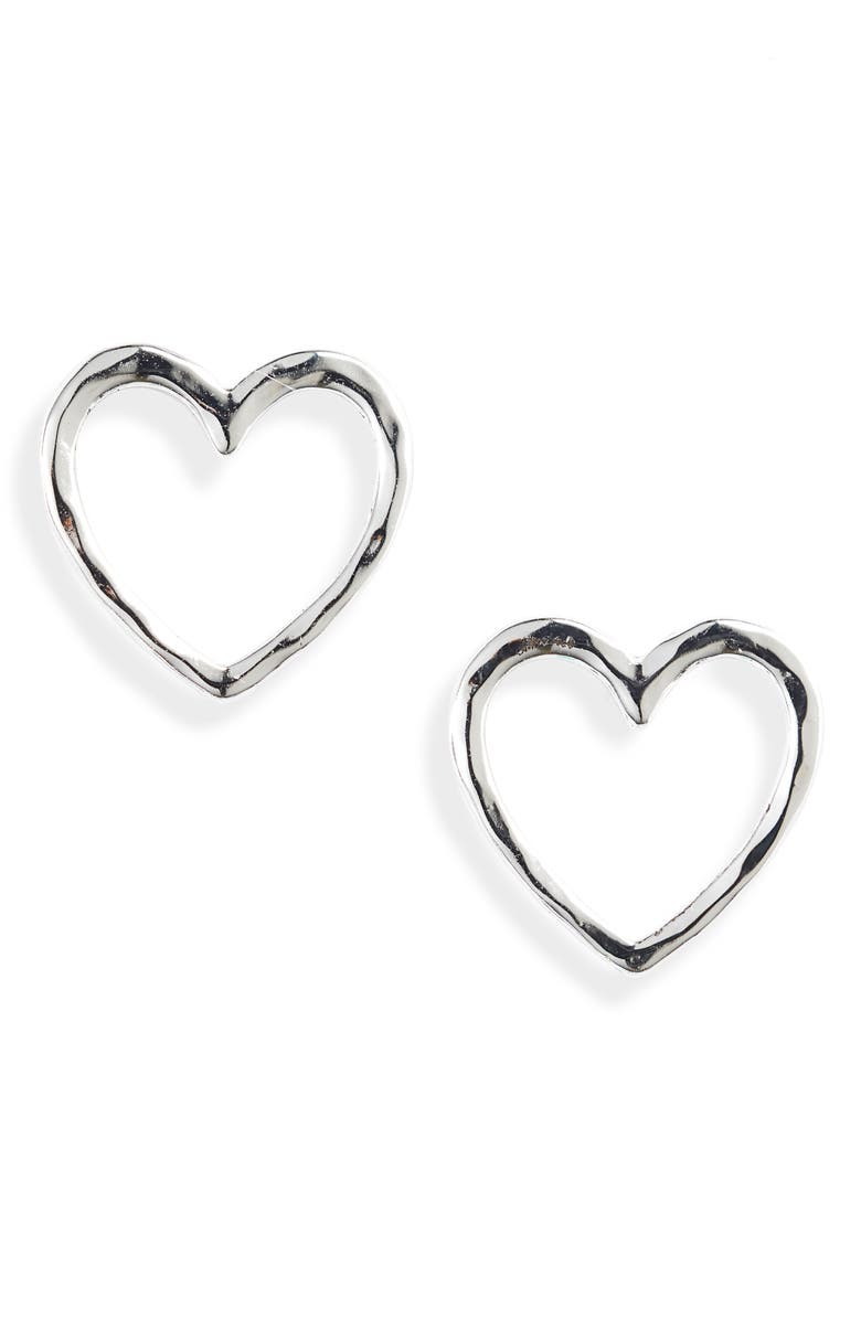 STELLA & DOT Essential Hammered Heart Stud Earrings, Main, color, SILVER