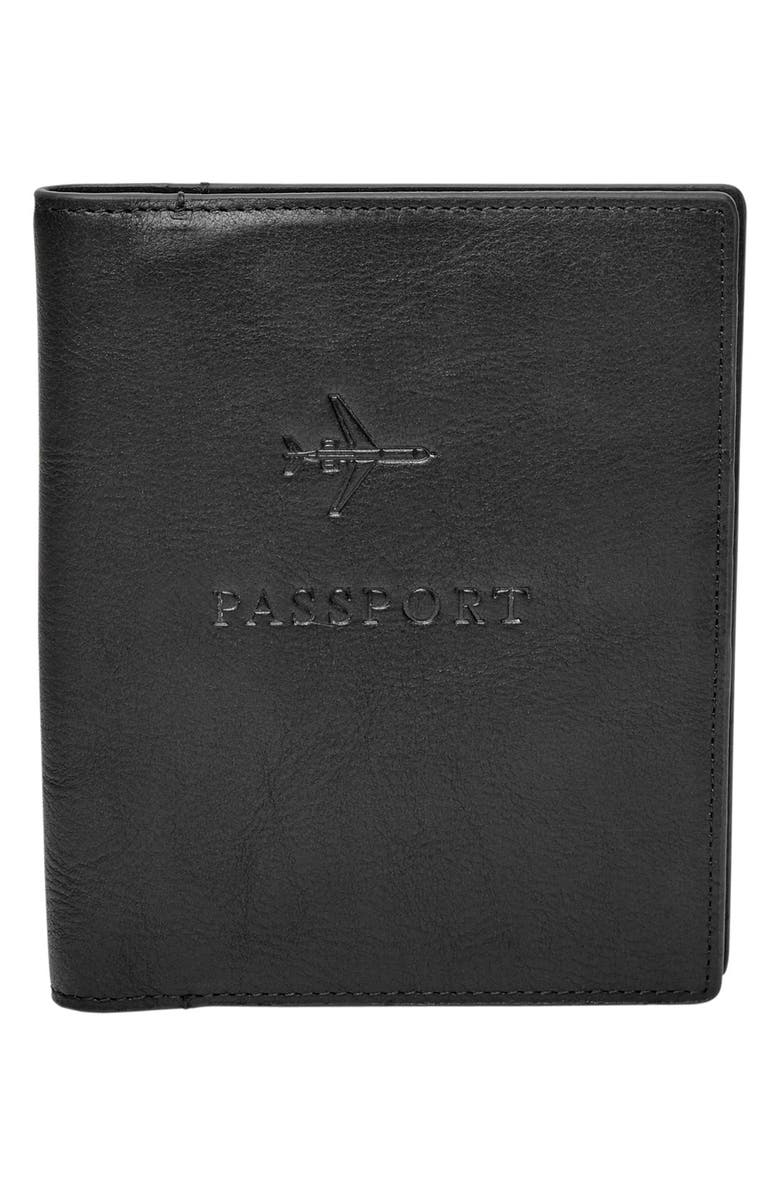 FOSSIL Leather Passport Case, Main, color, 001
