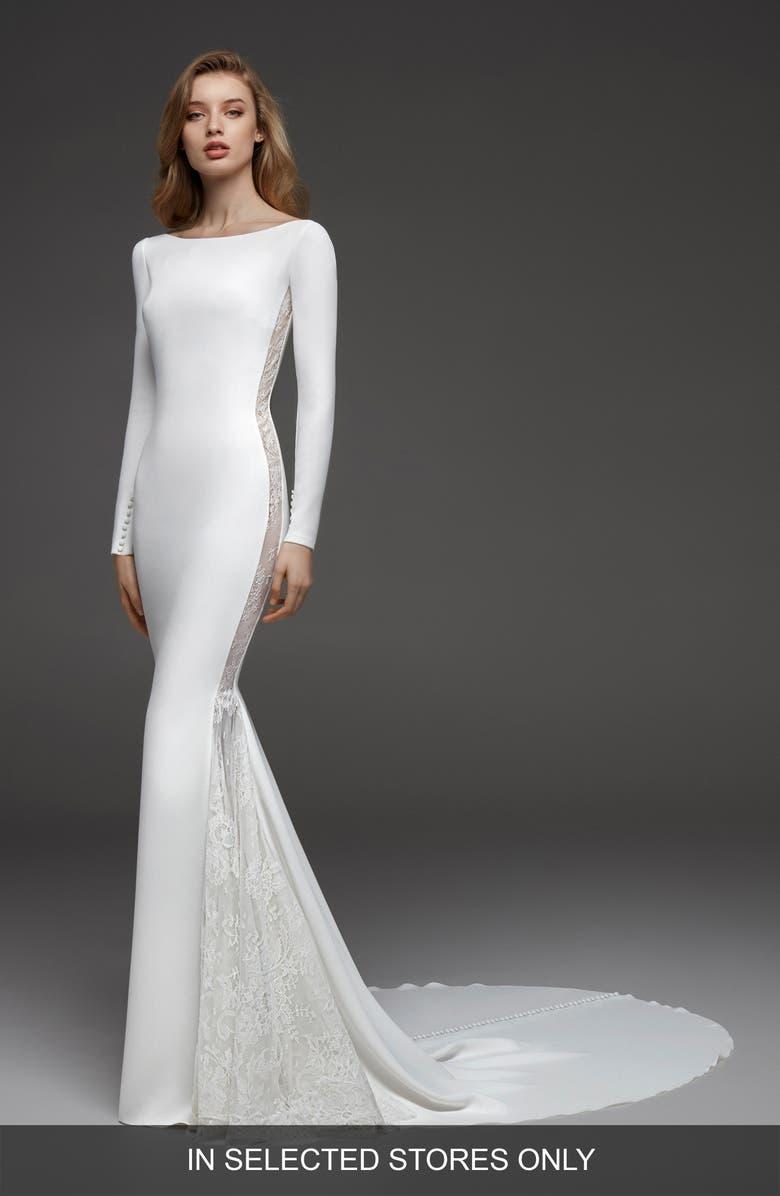 ATELIER PRONOVIAS Colorado Crepe & Chantilly Lace Mermaid Gown, Main, color, OFF WH/ CRST