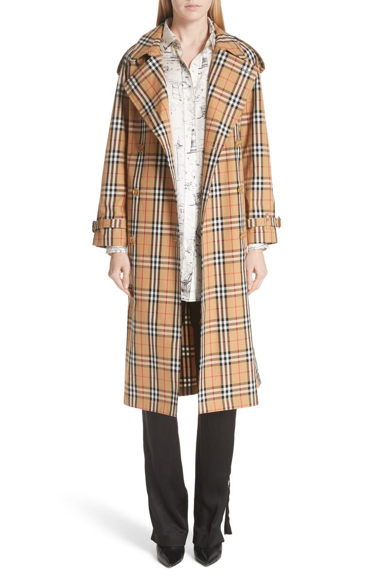 BURBERRY Eastheath Vintage Check Trench Coat, Main, color, 204