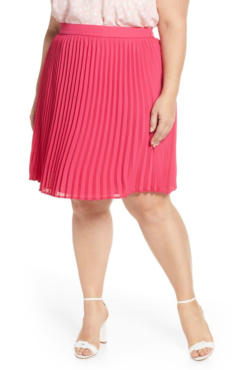 GIBSON x International Women's Day Thamarr Pleated Skirt, Main, color, LIPSTICK