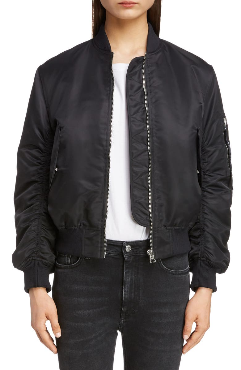 ACNE STUDIOS Oda Nylon Bomber Jacket, Main, color, 001
