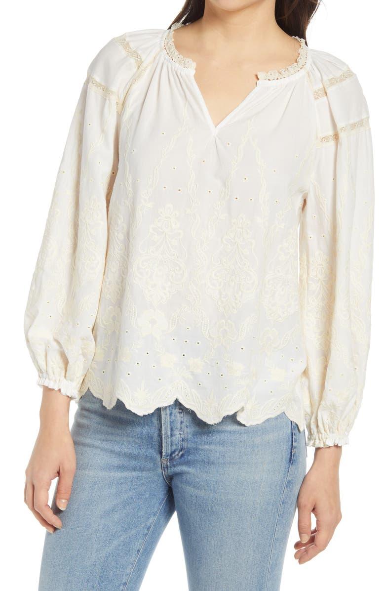WIT & WISDOM Blouson Sleeve Blouse, Main, color, OFF WHITE/ NATURAL