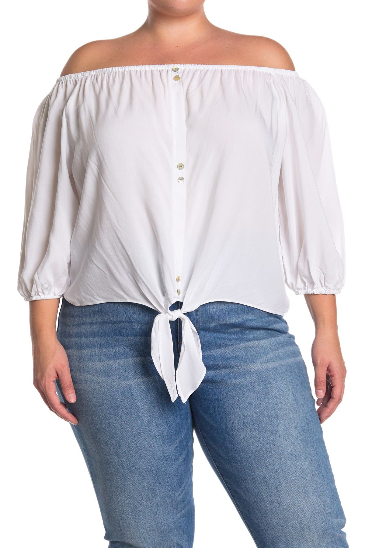 Image of 14TH PLACE Off-The-Shoulder Front Tie Top