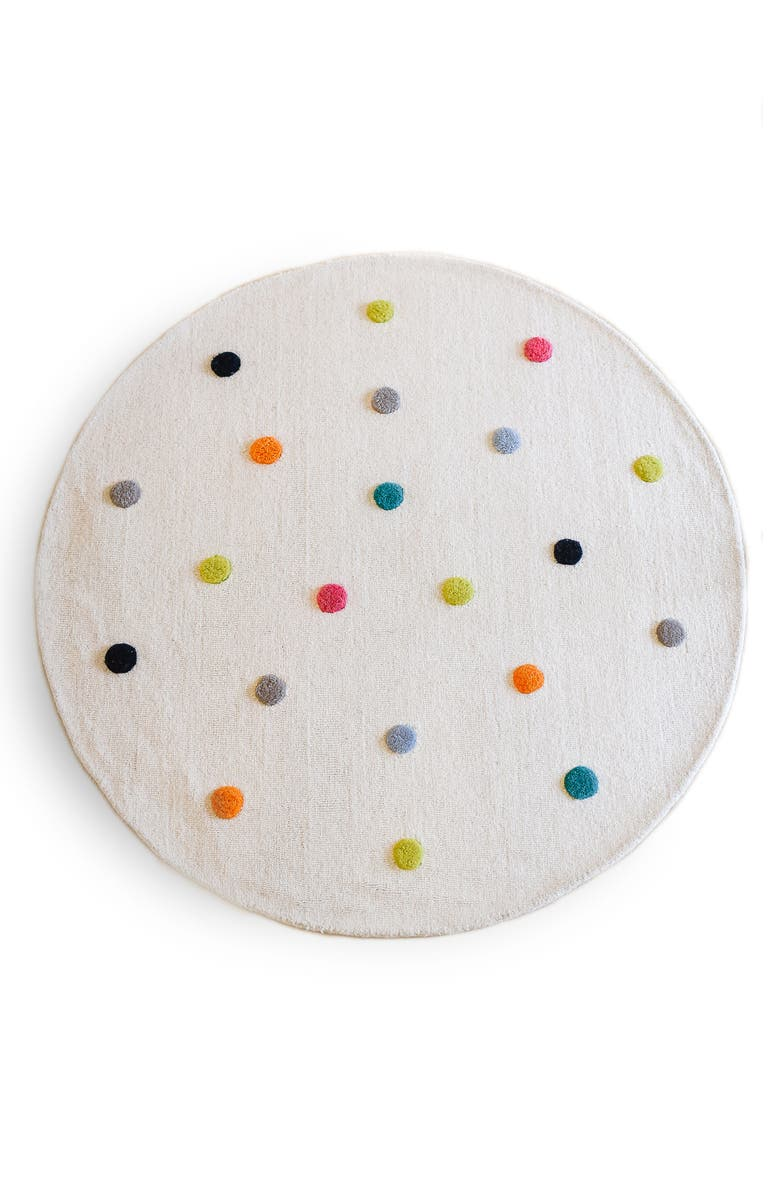 PEHR Pompom 5-foot Round Wool Rug, Main, color, MULTI