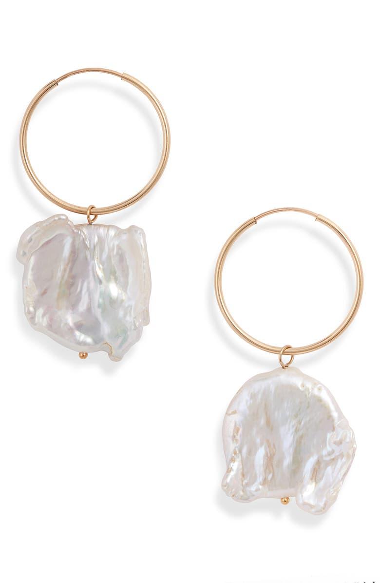 WOLF CIRCUS Pearl Hoop Earrings, Main, color, GOLD
