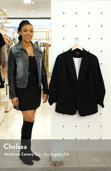 Ruched Sleeve Stretch Crepe Blazer, sales video thumbnail